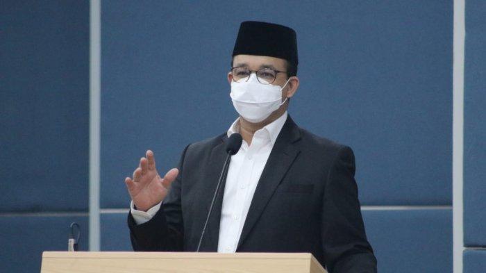 Gubernur DKI Jakarta Anies Baswesan saat pelantikan pengurus DMI Jakarta, Rabu (17/3/2021).