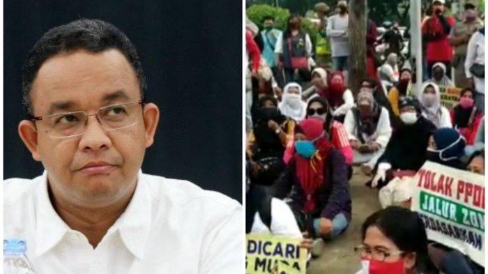 Kolase Gubernur DKI Jakarta Anies Baswedan (kiri) dan para orangtua murid yang unjuk rasa menuntut penghapusan aturan usia pada PPDB DKI Jakarta di Balai Kota, Selasa (23/6/2020).