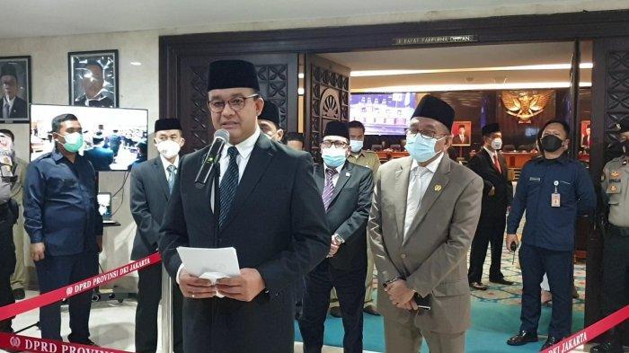 Gubernur DKI Jakarta Anies Baswedan saat ditemui di gedung DPRD DKI, Senin (31/5/2021).