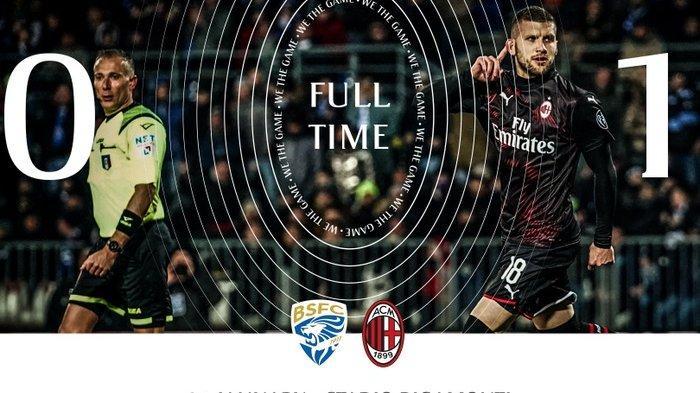 Hasil Liga Italia Serie A - Ante Rebic Buat AC Milan Raih 3 Poin di Kandang Brescia