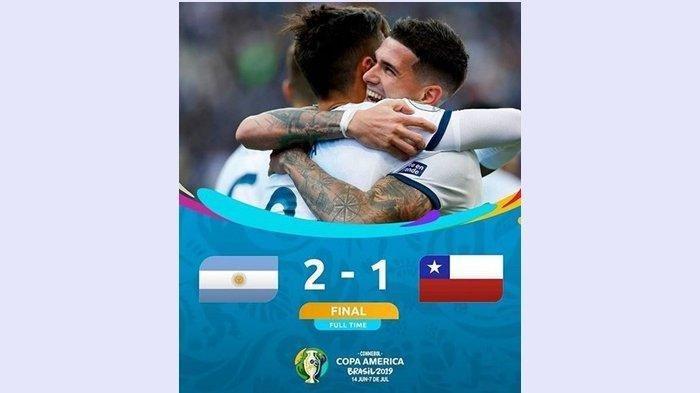 Lionel Messi Kartu Merah, Argentina Rebut Peringkat 3 Copa America 2019 Usai Taklukkan Cile Skor 2-1