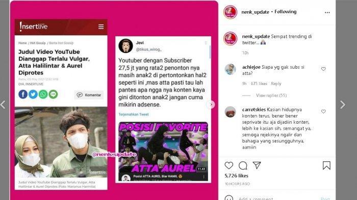 Atta Halilintar sempat kena protes soal judul kontennya dianggap terlalu vulgar.