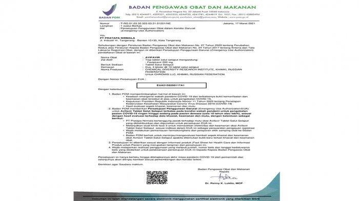 BPOM berikan Persetujuan Penggunaan Darurat AVIFAVIR