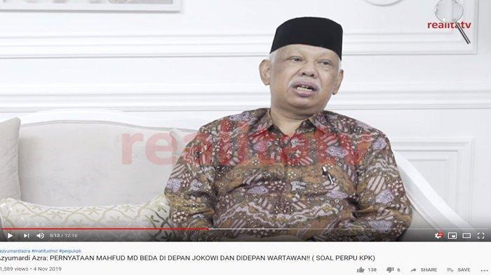 Bocorkan Perbedaan Sikap Mahfud MD ke Jokowi & Media Soal Perppu KPK, Azyumardi Azra Hela Napas