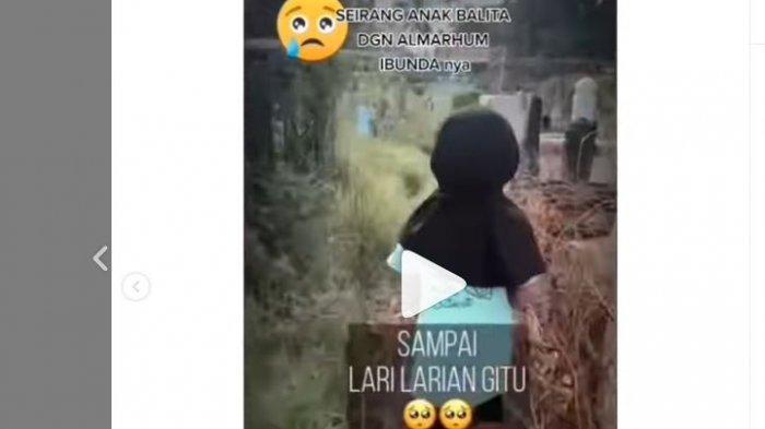 Viral Video Balita Kegirangan Ziarah Makam Ibunya, Peluk dan Cium Nisan: Aku Doain Mama Masuk Surga