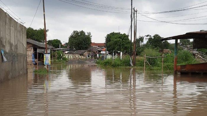 Banjir di Perumahan warga daerah  Bantargebang Bekasi.