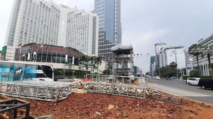 Pemprov DKI Jakarta Instalasi Batu Gabion di Bunderan Hotel Indonesia Dibongkar untuk Tahun Baru