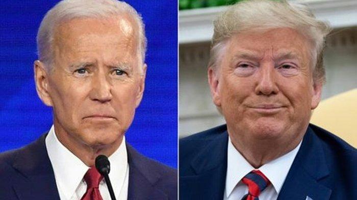 Kombinasi foto mantan Wakil Presiden Amerika Serikat Joe Biden (kiri), dan Presiden Donald Trump.