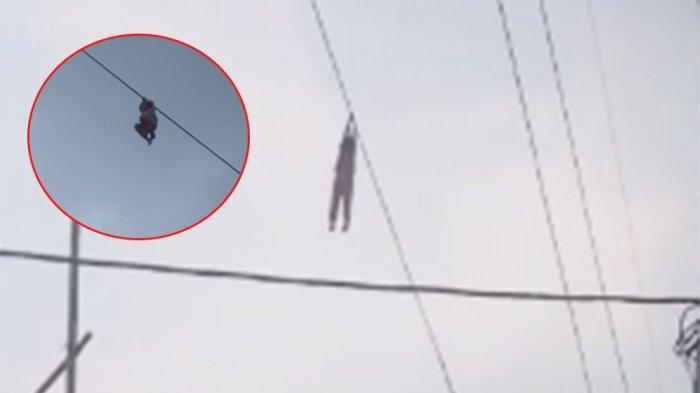 Bocah Bergelantungan di Kabel Sling PLN Setinggi 15 Meter, Evakuasi Dramatis Cuma Pakai Benda Ini