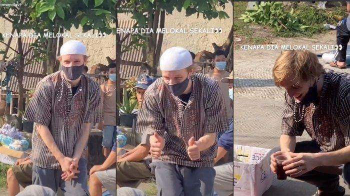 Bule Tonton Pemotongan Hewan Kurban saat Iduladha, Aksi Ngopi Pakai Gelas Plastik Tuai Sorotan: Seru