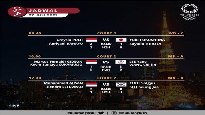Link Live Streaming dan Jadwal 3 Wakil Indonesia di Cabang Bulutangkis Olimpiade Tokyo 2020 Besok