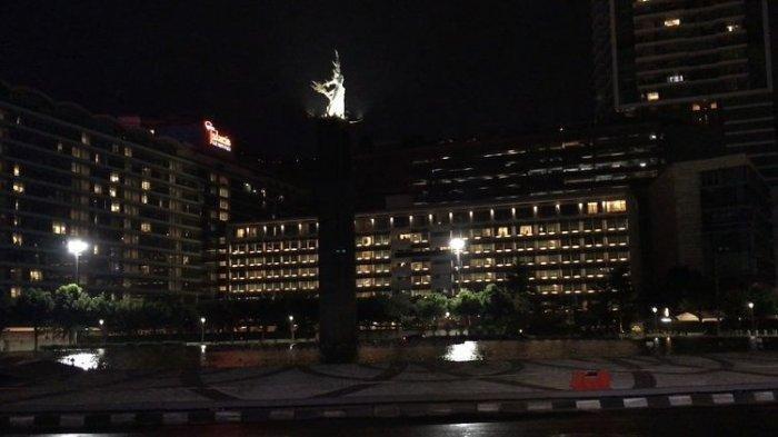 Suasana Bundaran Hotel Indonesia, Jakarta Pusat pada Jumat (1/1/2021).