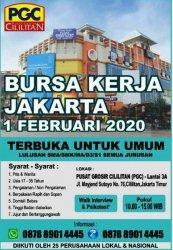 Bursa Kerja Jakarta di PGC Tanggal 1 Februari 2020, Terima Lulusan SMK hingga S1 Segala Jurusan