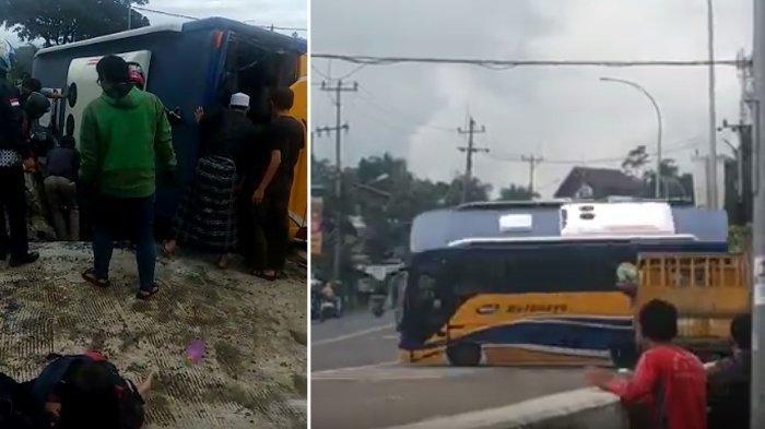 Bus Terguling di Tanjakan Selarong Puncak: Evakuasi Dramatis, Siswa SD Liburan ke Taman Matahari