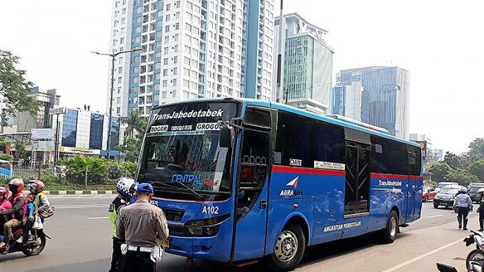 Putar Arah Sembarangan, Bus Transjabodetabek DitilangPolisi di Cawang