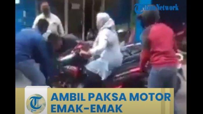 Viral Video Debt Collector Ambil Paksa Motor, Emak-emak Nekat Duduk di Motor, Sang Anak Menangis