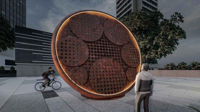 Desain rancangan tugu sepeda seharga Rp800 juta.