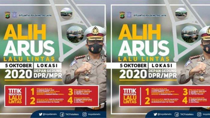 Ditlantas Polda Metro Jaya melakukan pengalihan arus untuk mengantisipasi aksi demonstrasi yang rencananya akan digelar di sekitar Gedung DPR, pada hari ini Senin (5/10/2020)