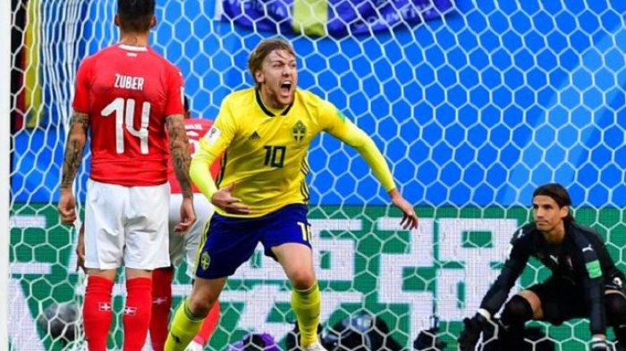 Swedia Lolos Perempat Final Piala Dunia Berkat Gol Tunggal Emil Forsberg