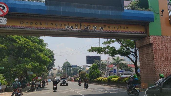 Kamera E-tle di Jalan Raya Margonda, Pancoran Mas, tepat di depan Kantor Wali Kota Depok, Jumat (19/3/2021).
