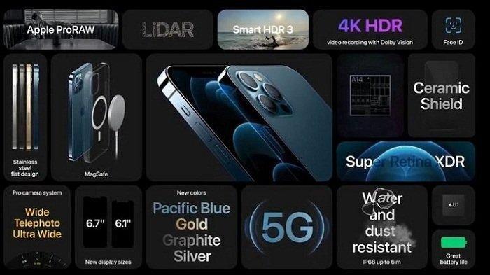 Fitur Apple iPhone 12 Pro dan iPhone 12 Pro Max. Kedua ponsel ini bersama iPhone 12 dan iPhone 12 Mini didukung jaringan 5G. Namun, menurut sebuah studi, pemakaian baterainya lebih cepat terkuras 20 persen saat pakai 5G dibanding 4G.