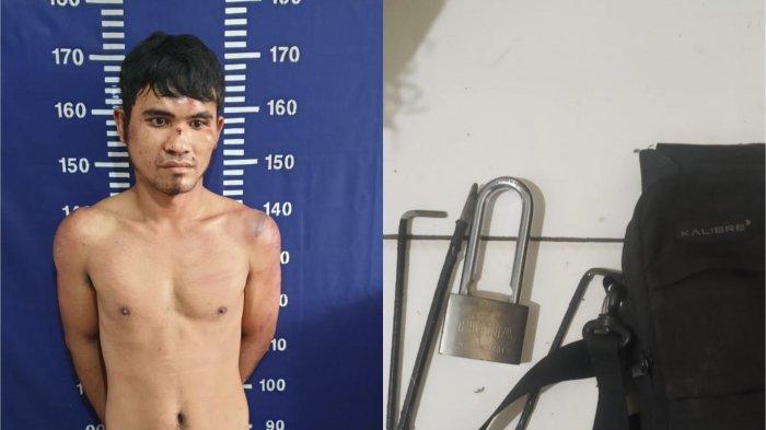 Tersangka FSP (27) usai diringkus jajaran Polsek Bekasi Tinur Polres Metro Bekasi Kota atas kasus pencurian di toko kelontong.