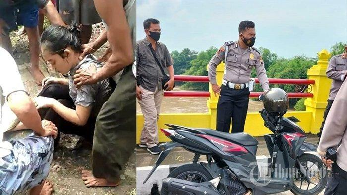 Detik-detik gadis asal Sragen ditolong warga usai loncat ke Bengawan Solo di wilayah Kragan, Kecamatan Gondangrejo, Kabupaten Karanganyar, Kamis (17/6/2021).