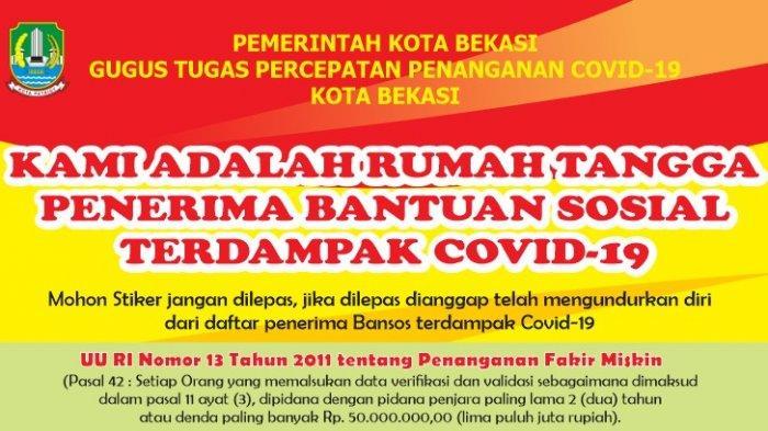 Stiker Untuk Penerima Bansos Covid-19 di Bekasi, Sindiran Bagi Warga Mampu Pura-pura Miskin