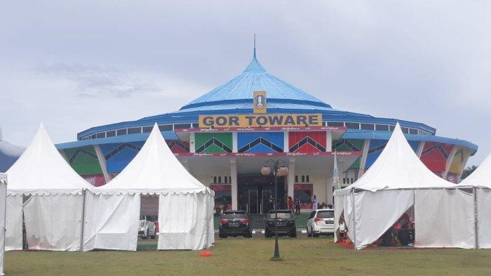 Arena pertandingan pencak silat dalam ajang PON Papua di GOR Toware Distrik Waibu, Kabupaten Jayapura, Kamis (7/10/2021) siang WIT.