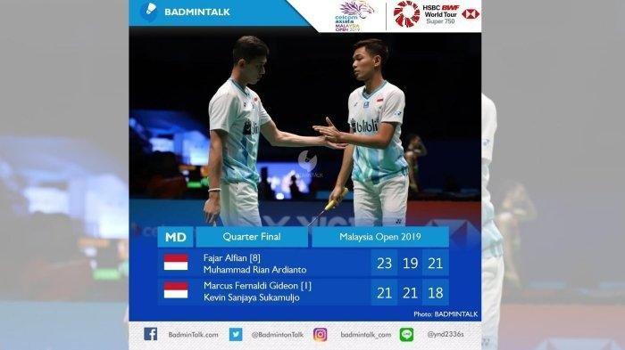 Tanpa Marcus/Kevin, Hasil Malaysia Open 2019 Babak Perempat Final (5/4)-2 Pemain Maju ke Semi Final