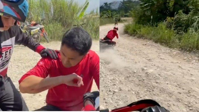 Suami Sonya Fatmala, Hengky Kurniawan jatuh saat olahraga motor trail.