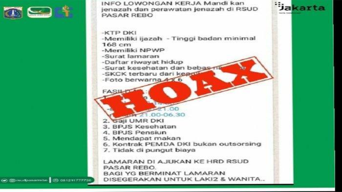 Tangkap layar percakapan pesan singkat hoaks info lowongan kerja pemandi dan perawat jenazah di RSUD Pasar Rebo, Jakarta Timur