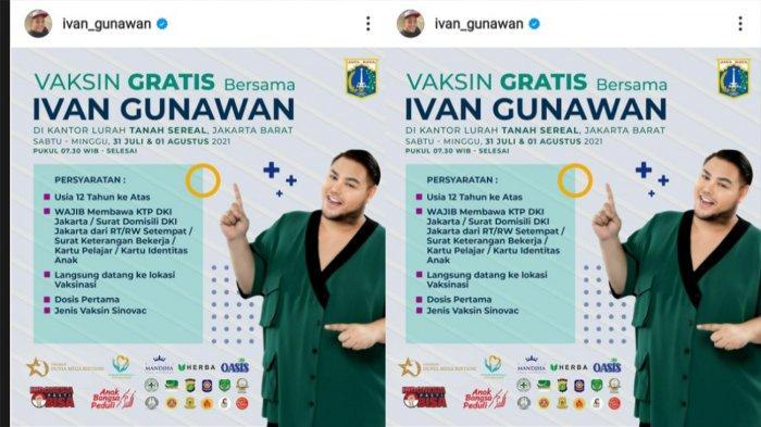 Ivan Gunawan Bakal Temani Warga Ikut Vaksinasi Gratis di Tambora Jakarta Barat