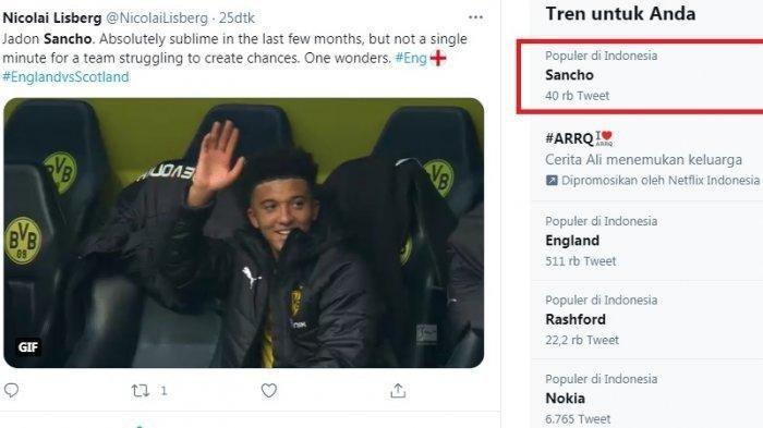 Jadon Sancho Trending Saat Timnas Inggris Memble Lawan Skotlandia, Netizen pertanyakan mengapa Pelatih Gareth Southgate tak mainkan Sancho.