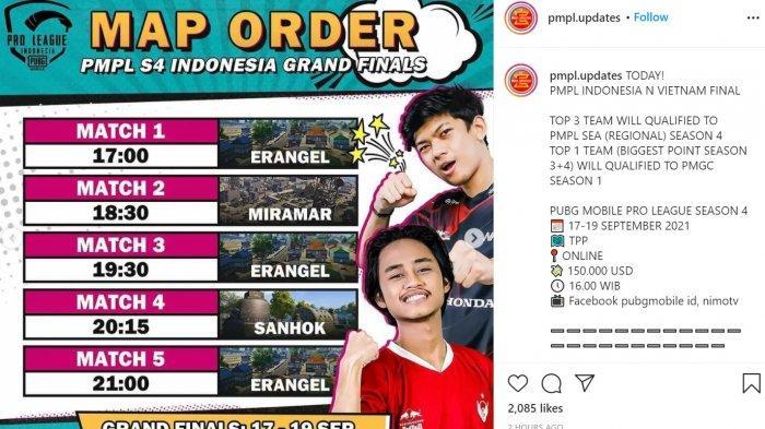 Jadwal dan Live Streaming Grand Final PUBG Mobile Pro League PMPL ID S4 Mulai Sore Ini