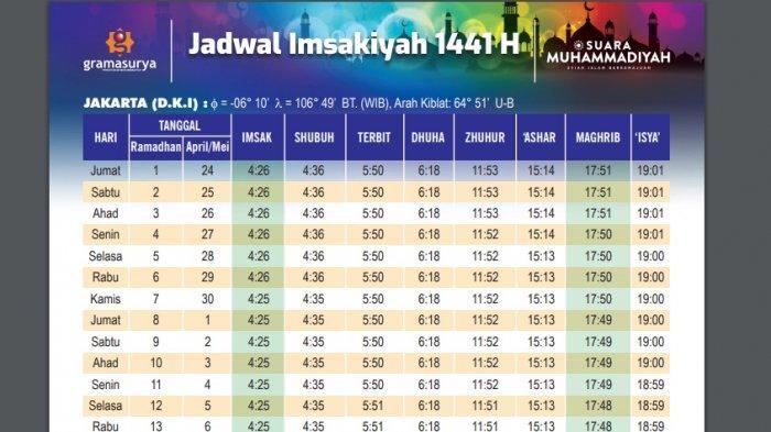Download di Sini! Jadwal Imsakiyah Ramadan 1441 H untuk DKI Jakarta