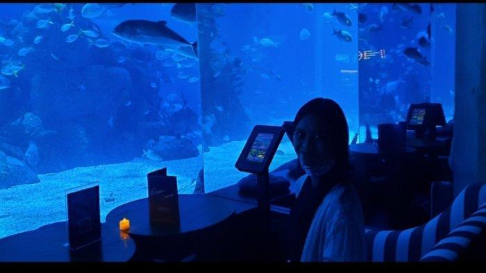Rasakan menyantap makanan sambil melihat pemandangan ikan-ikan dari akuarium raksasa di Jakarta Aquarium & Safari.