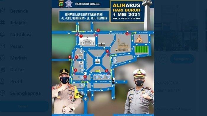 Hari Buruh, Polisi Alihkan Arus Lalu Lintas, Hindari Jalan Sudirman dan Jalan MH Thamrin Jakarta