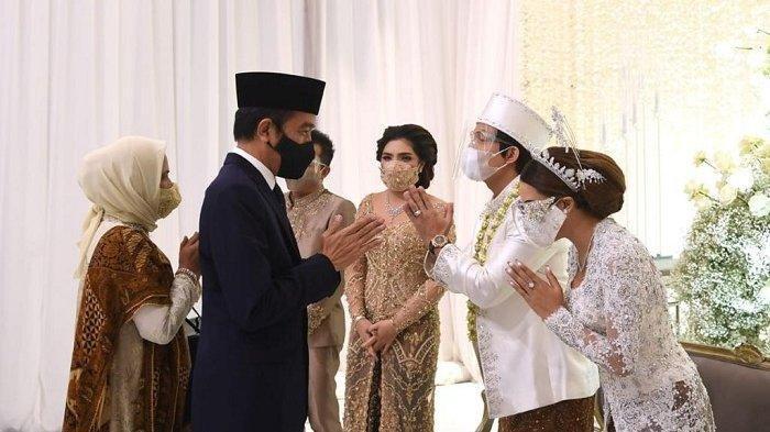 Presiden Joko Widodo (Jokowi) beserta Ibu Negara Iriana hadir pada acara akad nikah Titania Aurelie Nur Hermansyah (Aurel) dengan Muhammad Attamimi Halilintar (Atta)/Lukas - Biro Pers Sekretariat Presiden