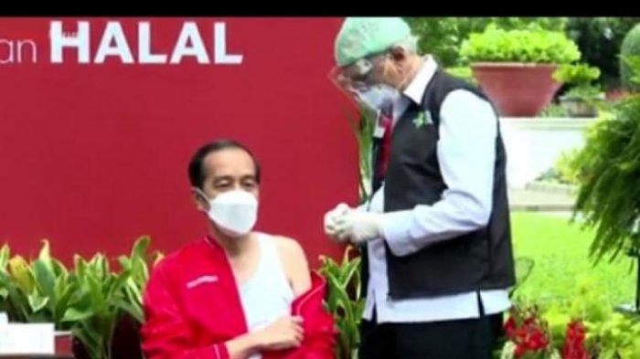 Presiden Joko Widodo (Jokowi) menjalani vaksinasi Covid-19 dosis ke-dua pada Rabu, (27/1/2021) di Istana Kepresidenan, Jakarta sekira pukul 08.30 WIB