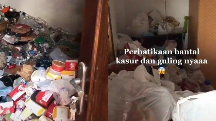 Penampakan Horor Sebuah Kamar Kos Dipenuhi dengan Sampah Bungkus Makanan, Begini Pengakuan Perekam