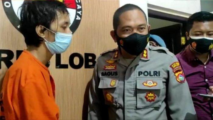 PENCURI: Kapolres Lombok Barat AKBP Bagus S Wibowo (kanan) bertanya kepada tersangka pencurian HW, saat keterangan pers, Selasa (31/8/2021).
