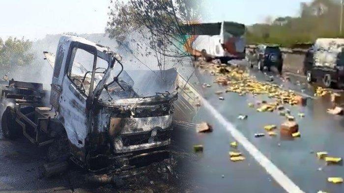 Kecelakaan Kembali Terjadi di KM 92 Tol Cipularang Arah Jakarta, Truk Terbalik dan Terbakar