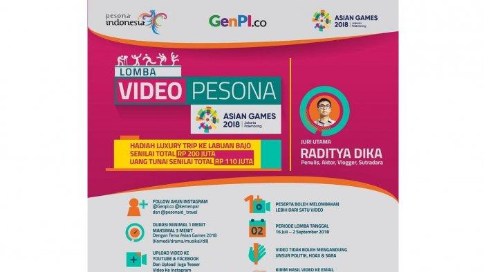 Kemenpar Selenggarakan Lomba Video Pesona Asian Games dengan Total Hadiah Rp 110 Juta, Yuk Ikutan!