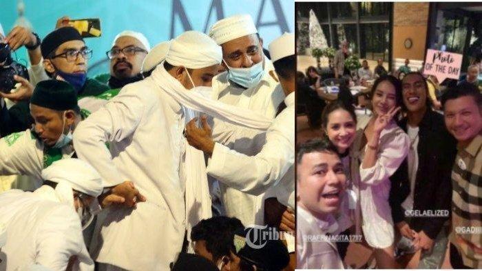 (Kiri) Pimpinan Front Pembela Islam (FPI) Habib Rizieq Shihab saat akan menaiki panggung tempat perayaan Maulid Nabi Muhammad SAW sekaligus pernikahan anaknya di kawasan Petamburan, Tanah Abang, Jakarta Pusat, Sabtu (14/11/2020) dan (kanan) pesta yang dihadiri oleh Raffi Ahmad.