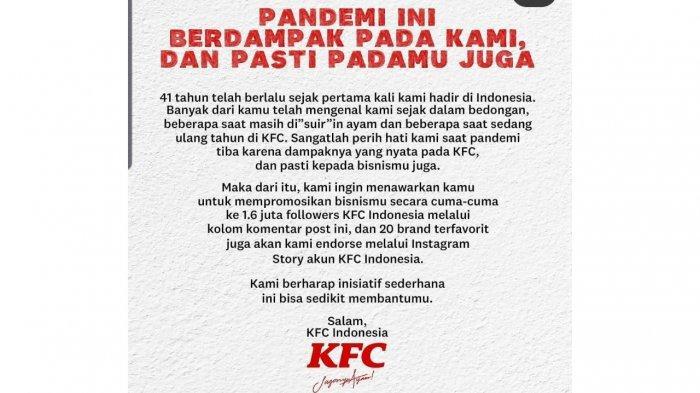 Keren! KFC Tawarkan Endorse Secara Cuma-Cuma, Bantu UKM Lokal di Masa Sulit