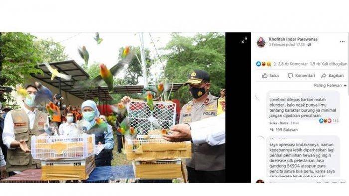 Foto Gubernur Jawa Timur Khofifah Indar Parawansa Lepas Lovebird Ramai Diperbincangkan