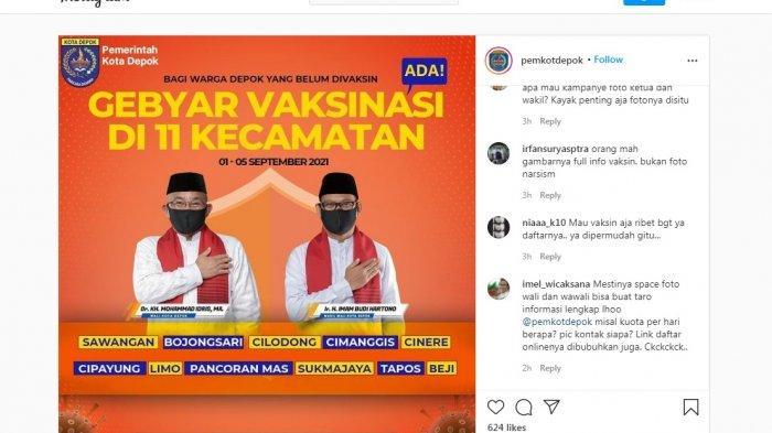 Sosialisasi Vaksinasi, Unggahan Akun Instagram Pemkot Depok Penuh Komentar Sindiran, Begini Isinya