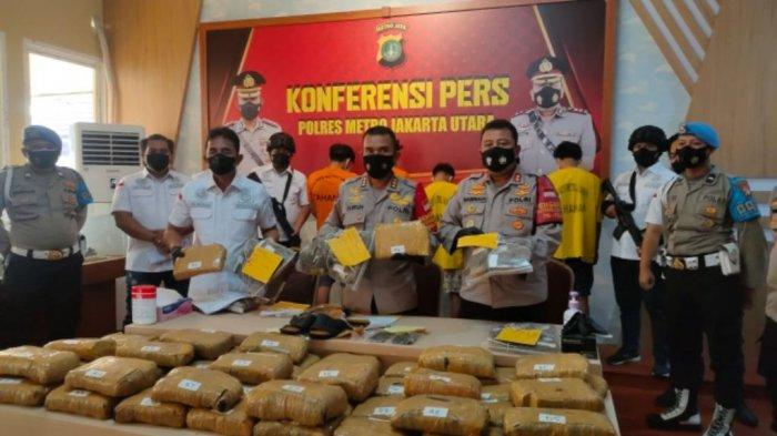Konferensi pers penangkapan 52,9 kilogram yang dilakukan Satresnarkoba Polres Metro Jakarta Utara, Selasa (5/7/2021).