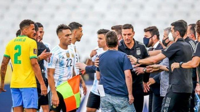 Kualifikasi Piala Dunia 2022: Laga Brasil vs Argentina Dipaksa Berhenti, Begini Video Suasananya